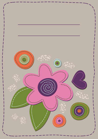 flower patchwork heart and circles on a beige background. Vector
