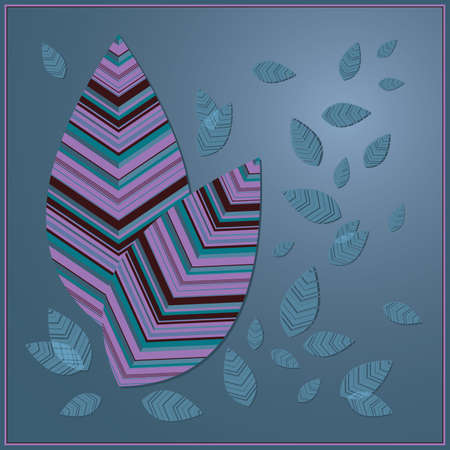Autumn falling leaves, multicolored striped leaves on a blue background Vector