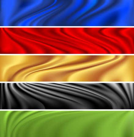 tela seda: Conjunto de cinco banderas de colores de fondo de seda Vectores