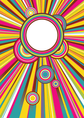 abstract poster of colored light and colored circles in retro style Vector