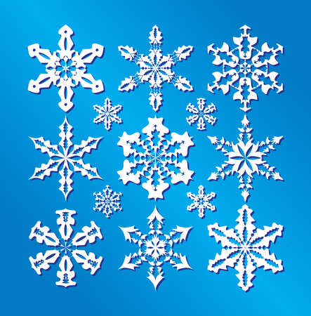 snow crystal: Snowflakes collection, element for design. Illustration