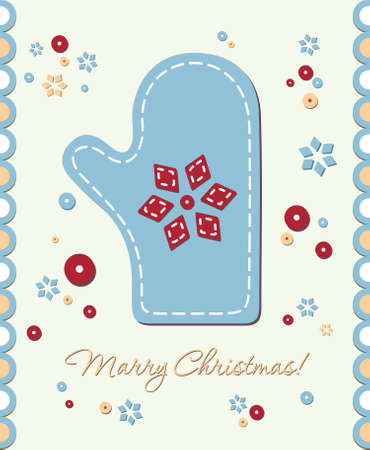 Vintage Christmas card mitten with patchwork in the center Vector