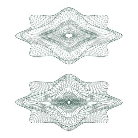 guilloche pattern: Conjunto de patr�n oval revestido de moneda, certificados o diplomas