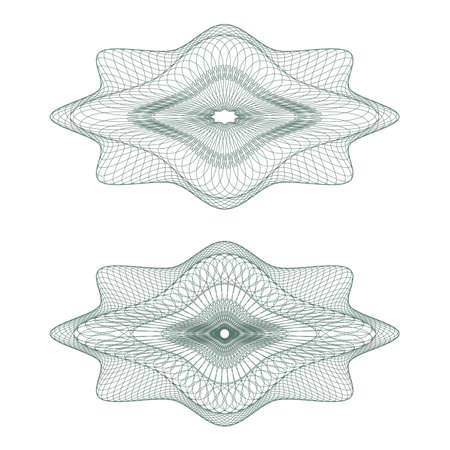 rosette: Set of oval guilloche pattern for currency, certificate or diplomas Illustration