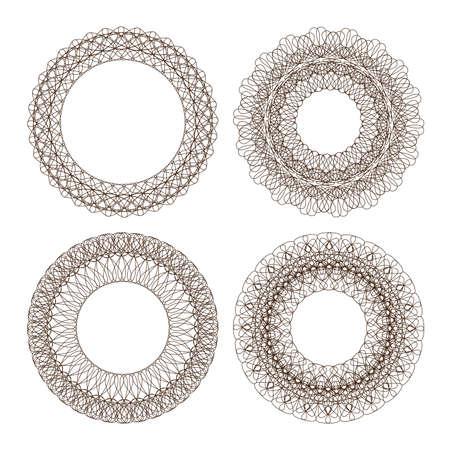 rosettes: Set of guilloche rosettes certificate or diplomas, decorative elements Illustration