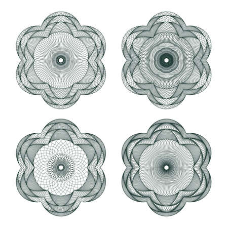 Set of guilloche element for certificate, money design Vector