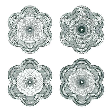 guilloche pattern: Set of guilloche element for certificate, money design Illustration