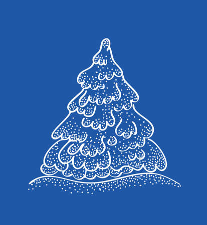 Abstract christmas tree on blue background Vector