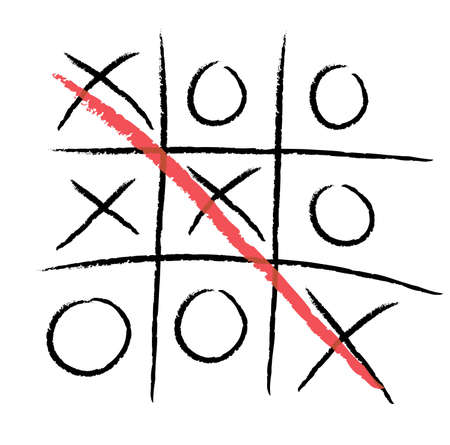 toe: Tic-tac-toe, winning. Crosses and zeros isolated on white background