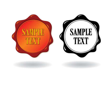 Red and black wax stamps on a white background  Stock Vector - 10985019