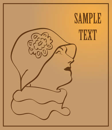 Vintage silhouette of a woman in a hat, vector Vector