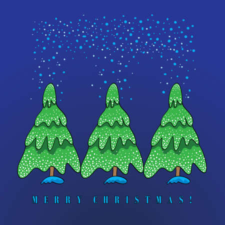 Three Christmas trees in the winter snow on a blue background Vector