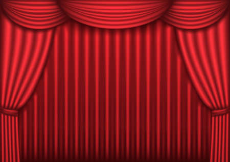 Red velvet theater curtain background, vector illustration Vector