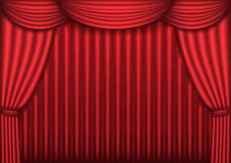 theater curtain: Red velvet theater curtain background, vector illustration