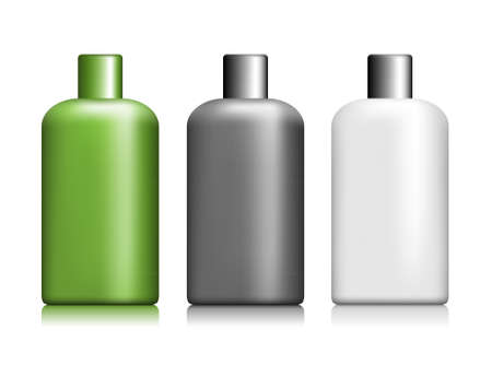 lotion: Set of closed packages without a label on a white background Illustration