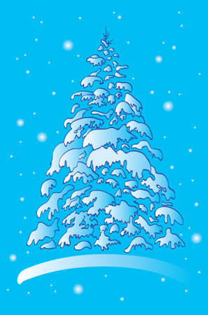 Abstract christmas winter tree in the snow on blue background. Vector