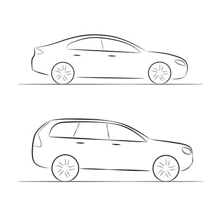 transportation silhouette: A set of silhouettes of car on a white background