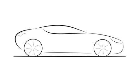 silhouette voiture: Silhouette de bande dessinée d'une voiture noire sur fond blanc, vecteur