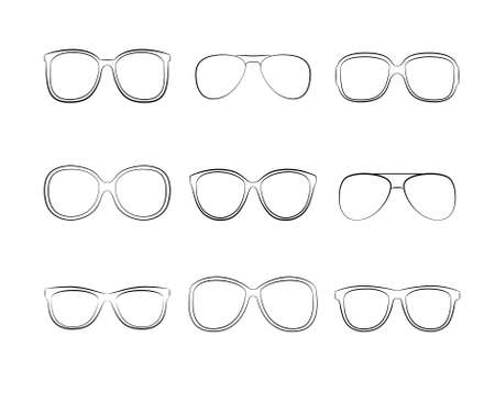 eye shade: Vector icons set black Eye glasses a white background Illustration