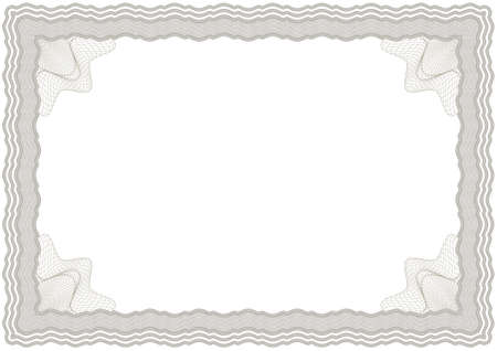 Guilloche horizontal vector brown frame for diploma or certificate Vector