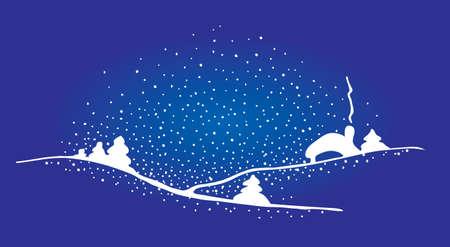 Vecteur de Noël maison et sapin dans le paysage de montagne de neige dérive