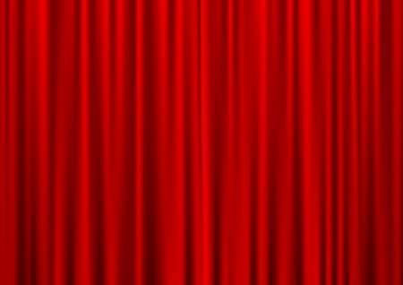 sipario chiuso: Chiuso il teatro tenda rossa, sfondo seta, illustrazione vettoriale Vettoriali