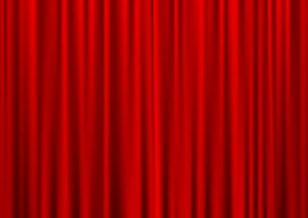 Closed red theater curtain, silk background, vector illustration