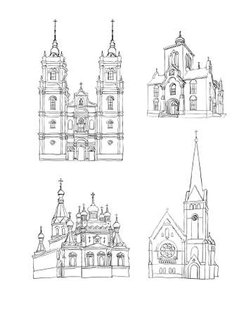 A set of sketches of churches, Hand drawn vector illustration Vector