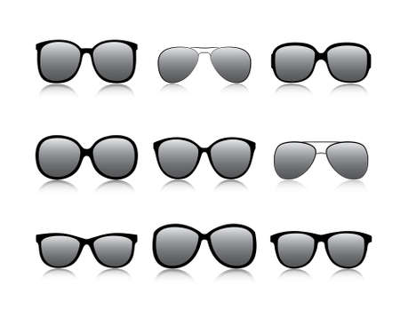 Vector icons set black Eye glasses a white background 向量圖像