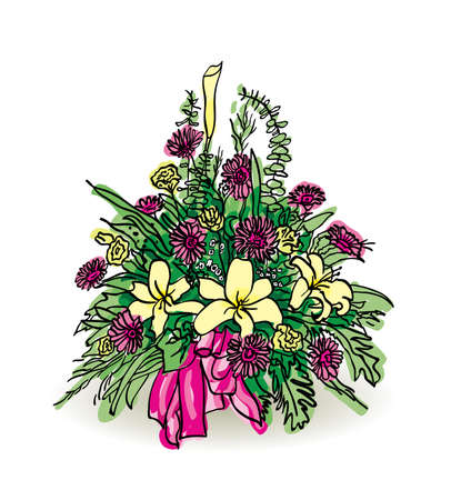 Vector bouquet of flowers in black pencil and colored colors