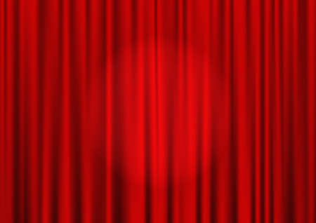 Closed red theater curtain with spotlight in the center, silk background, vector Vector