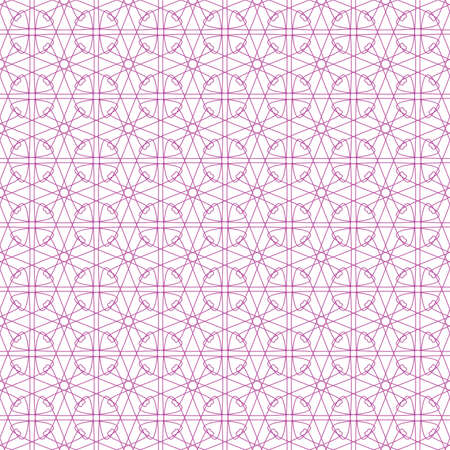 Vector seamless pink illustration of tangier grid, abstract guilloche background Vector