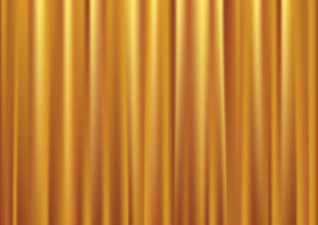 Closed gold theater curtain, silk background, vector illustration