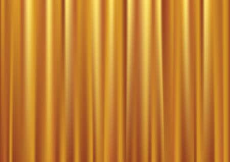 sipario chiuso: Chiuso oro sipario, fondo di seta, illustrazione vettoriale