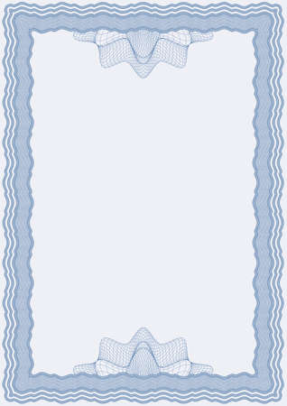 Guilloche vector blue frame for diploma or certificate Stock Vector - 11386429