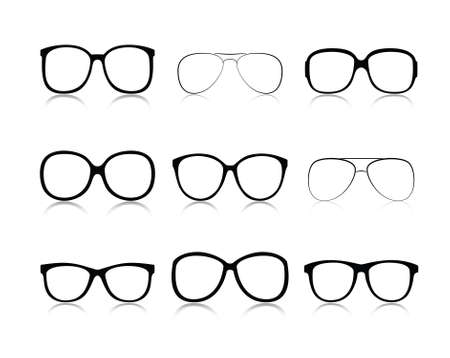 oeil dessin: Vector ic�nes mis des lunettes noires des yeux un fond blanc Illustration