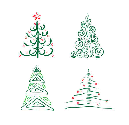 christmas tree illustration: A set of abstract Christmas trees of green, vector illustration Illustration