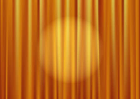 Closed gold theater curtain, silk background, vector illustration Vector