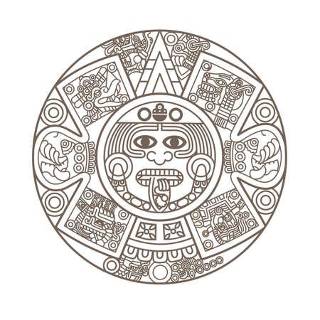 calendari: Stilizzata calendario azteco in colore oro, illustrazione vettoriale Vettoriali