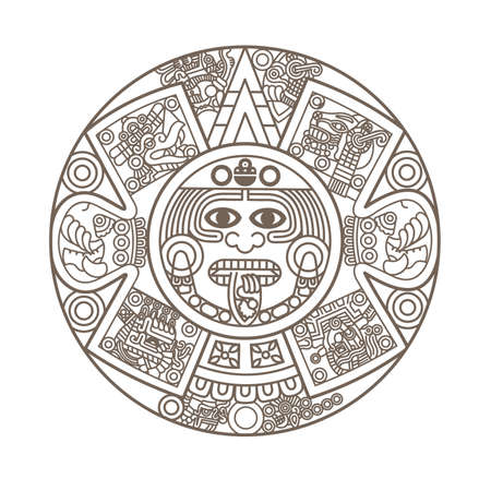hieroglyph: Stylized Aztec Calendar in gold color, vector illustration