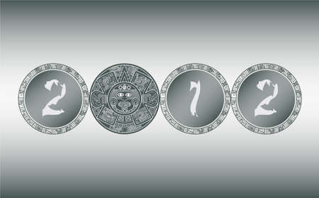 mayan prophecy: Stylized Aztec Calendar instead of the number zero in 2012, vector illustration