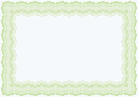 Guilloche horizontal green vector brown frame for diploma or certificate Vectores