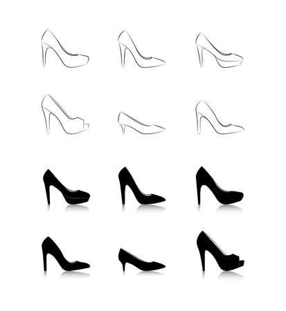 chaussure: Un ensemble de chaussures femmes de la mode sur un fond blanc, vecteur