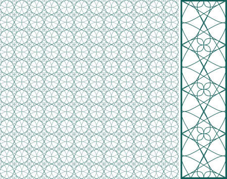 Vector seamless illustration of green tangier grid, abstract guilloche background Vector