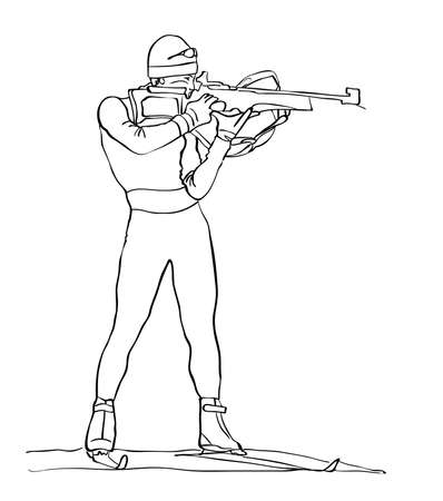 shooter: sketch of the shooter biathlete drawn in black pencil on white background