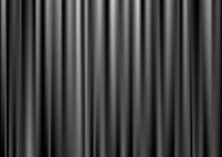 Closed black theater curtain, silk background, vector illustration Vector