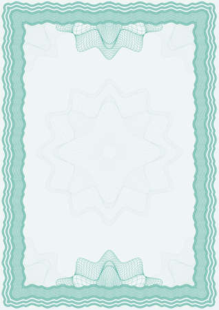 reiteration: Guilloche vector green frame for diploma or certificate Illustration