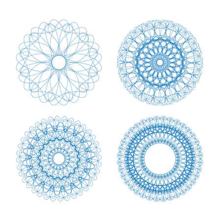 Set of vector blue guilloche element for certificate, money design Vector
