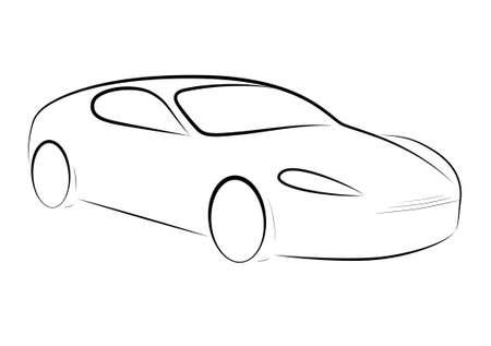 silhouette voiture: Silhouette dessinée d'une voiture noire sur fond blanc, vecteur