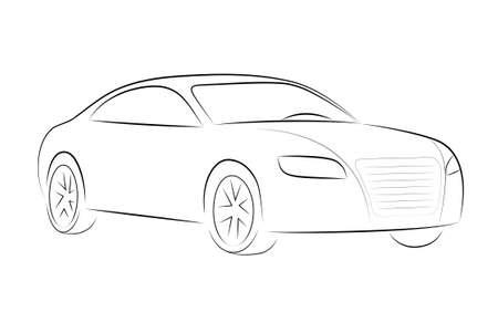Silhouette de bande dessinée d'une voiture noire sur fond blanc, vecteur